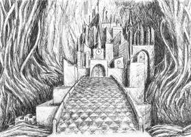 Gralsburg (Castle of the Holy Grail) - ink by Starsong-Studio