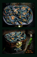 Celtic Oak leaf Carnelian stone jewelry box by Gwillieth