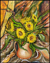 Sunflowers in a vase by Manjishi1