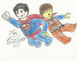 Lego Superman and Emmett Brickowski by FoxBluereaver