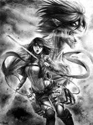 Mikasa y Eren (titan) - SNK by reniervivas666