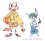 Gecko kid and Amelia by TeaDino