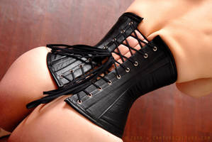 Black Leather Corset by ilovefrenchgirls