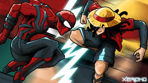 Urban Marvel VS Bandai: Spider-man VS Luffy by xericho
