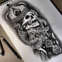 Tattoo skull design by Cleicha