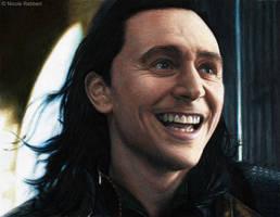 Loki - Finally free (mixed media drawing) by Quelchii