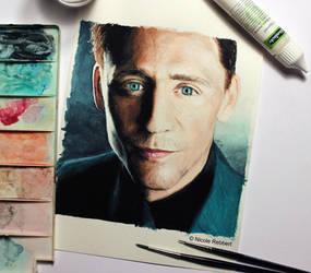 Tom Hiddleston (watercolor) by Quelchii