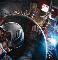 Iron Man vs. Captain America (drawing) by Quelchii