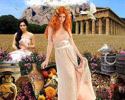 Goddess Demeter and Persephone by DavienOrion