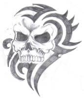 tribal skull by tattz79