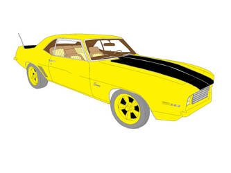 1969 Chevrolet Z28 Camaro 396 V8 Drawing (Color) by MarcusMcCloud100