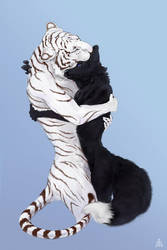 Tiger and black fox friends by AndanteSen