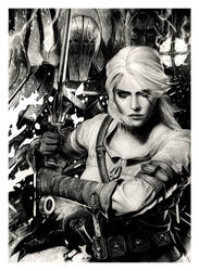 The Witcher - Ciri and Wild Hunt (pencil drawing) by WildGoska