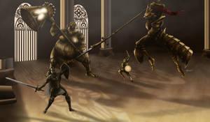 Dark Souls - Ornstein and Smough by OniRuu