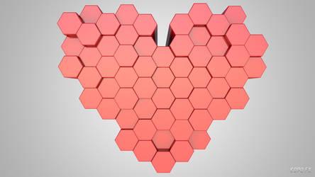 3D Hexagons Heart Wallpaper by kopofx