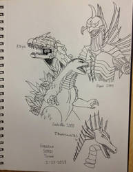 Kaiju Doodles Before Bed by GodzillaSonicTitan