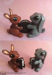 Oreo Cookie Bunnies by RadugaDragon