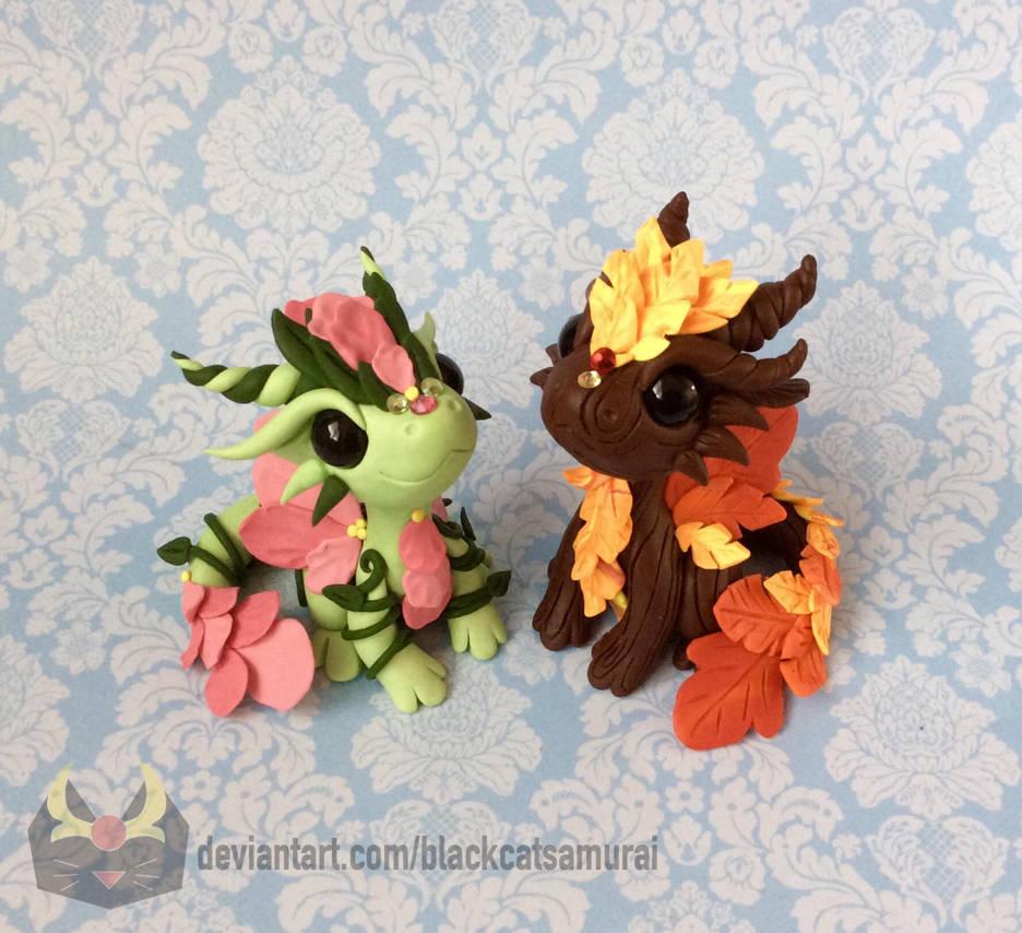 Spring and Fall Dragon Couple by BlackCatSamurai