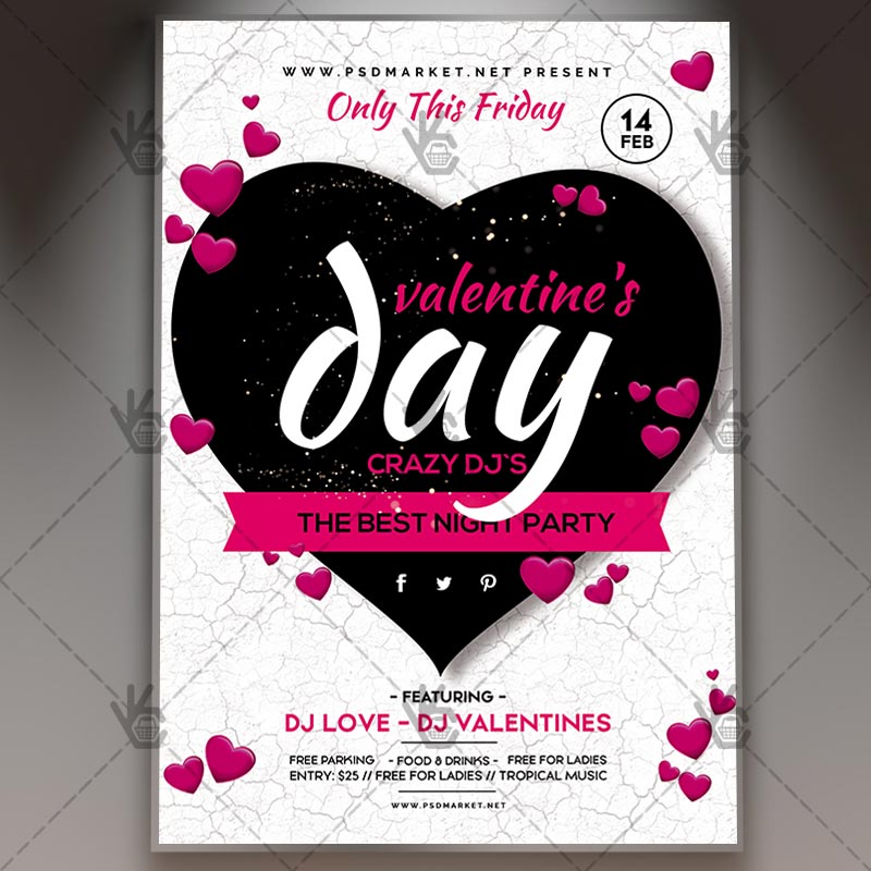 Valentines Day Flyer Psd Template By Psdmarket On Deviantart