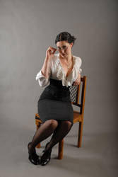 Pinstripe, glasses and corset by liveuntamed