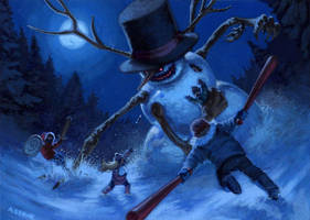 Evil Snowman by alexstoneart