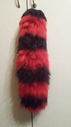 Yarn Tail - Black and Red Striped by NordicAngel