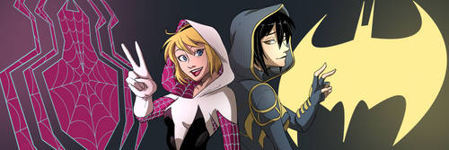 Spidergwen/Batgirl Twitter Banner by SwainArt
