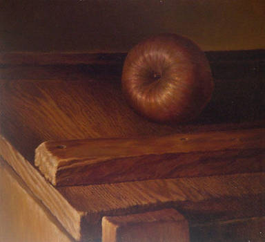 Apple on table by Bill Root by ericdalrymple
