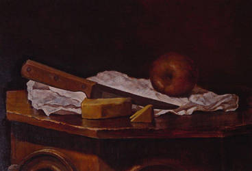 Apple with knife and cheese by ericdalrymple