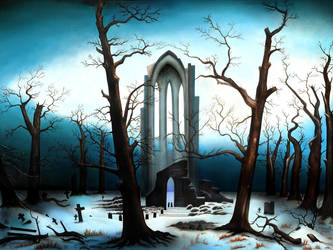 Cloister Cemetery in the Snow by Fire-Starter-Studios