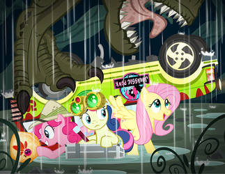 Jurassic Pink is frightening in the...dink?  Rink? by PixelKitties
