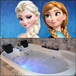 Anna and Elsa in a hot jacuzzi by jeanvargas62