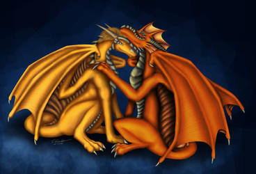 TnT dragons snuggle by Thalathis