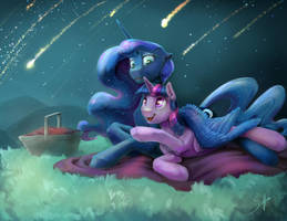 Commission: Meteor Shower by SilFoe