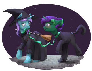 Commission: A Witch and Familiar by SilFoe