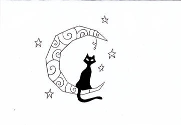 Cat on the moon by yua-san