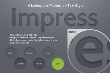 Impress Letterpress Photoshop Text Style by kevinhamil