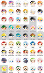 Sailor Moon Button Designs by Micromeow