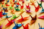 1000 common cranes by chibi-banane