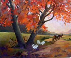 village path in autumn by Hydrangeas