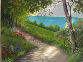 path with flowers by Hydrangeas