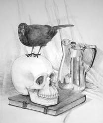 Skull still life by PineMelons