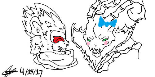 Wukong and Thresh FanArt by 1mew635
