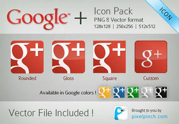 Red Google Plus Vector Icon Pack by abhashthapa