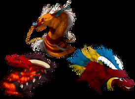Many dragon heads by MaraMastrullo