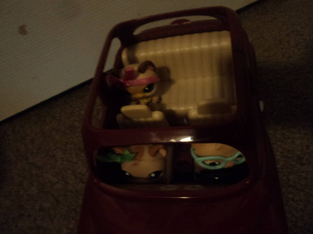 LPS riding in the Calico  Critters Cherry Cruiser by katieluv2sing18