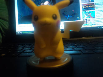 my first ever amiibo , Pikachu , Zappy by katieluv2sing18