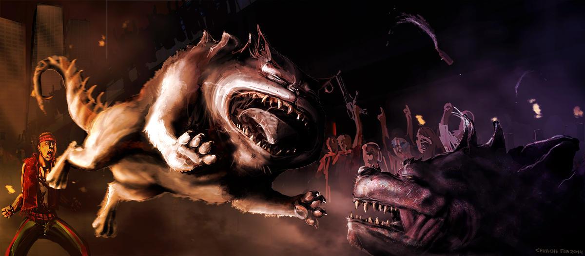 Pitbullsaur fight by Ryoishen