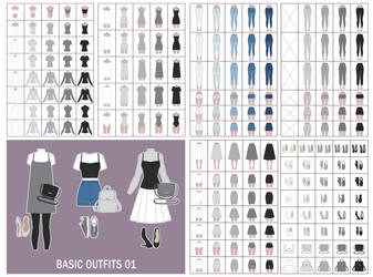 (OPEN) Basic Outfits 01 - Adoptables by Rosariy