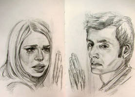 10th Doctor and Rose. Doomsday. sketch by kssu24
